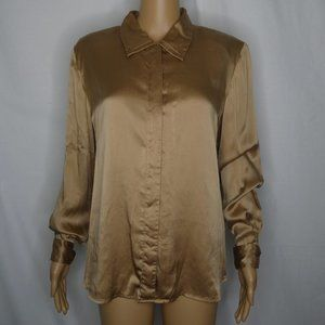 Anna and Frank Silk Long Sleeve Button Up Shirt Lg